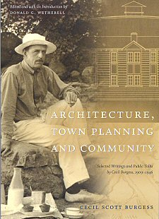 "Cover of Cecil Scott Burgess' book, ""Architecture, Town Planning and Community"""